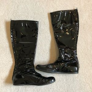 LANVIN Black Patent Leather Tall Boot